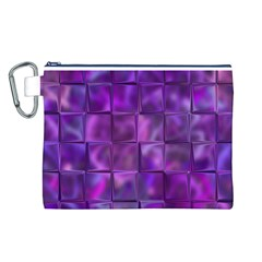 Purple Squares Canvas Cosmetic Bag (large)