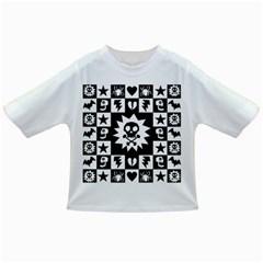 Goth Punk Skull Checkers Baby T-shirt