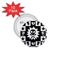 Goth Punk Skull Checkers 1 75  Button (10 Pack)