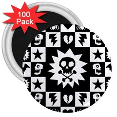 Goth Punk Skull Checkers 3  Button Magnet (100 Pack)