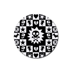 Goth Punk Skull Checkers Drink Coaster (round)