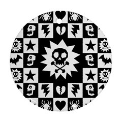 Goth Punk Skull Checkers Round Ornament (two Sides)