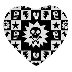Goth Punk Skull Checkers Heart Ornament (two Sides)