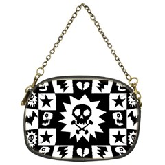 Goth Punk Skull Checkers Chain Purse (one Side)