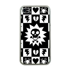 Goth Punk Skull Checkers Apple Iphone 4 Case (clear)