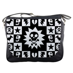Goth Punk Skull Checkers Messenger Bag