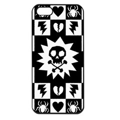 Goth Punk Skull Checkers Apple Iphone 5 Seamless Case (black)