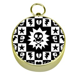Goth Punk Skull Checkers Gold Compass
