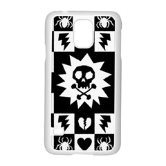 Goth Punk Skull Checkers Samsung Galaxy S5 Case (White)
