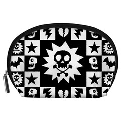 Goth Punk Skull Checkers Accessory Pouch (Large)