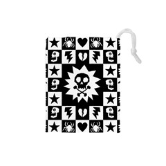 Goth Punk Skull Checkers Drawstring Pouch (Small)