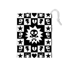 Goth Punk Skull Checkers Drawstring Pouch (Medium)