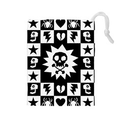 Goth Punk Skull Checkers Drawstring Pouch (Large)