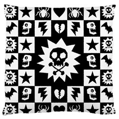 Goth Punk Skull Checkers Large Flano Cushion Case (Two Sides)