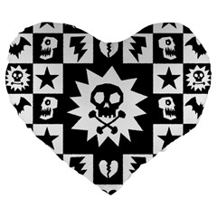 Goth Punk Skull Checkers Large 19  Premium Flano Heart Shape Cushion