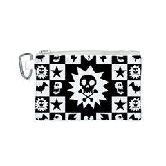 Goth Punk Skull Checkers Canvas Cosmetic Bag (Small)