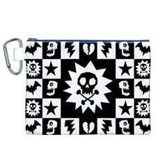 Goth Punk Skull Checkers Canvas Cosmetic Bag (XL)
