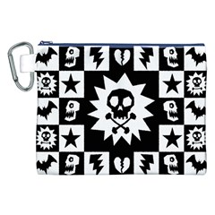 Goth Punk Skull Checkers Canvas Cosmetic Bag (XXL)