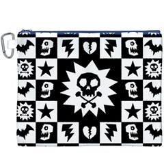 Goth Punk Skull Checkers Canvas Cosmetic Bag (xxxl)