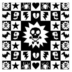 Goth Punk Skull Checkers Large Satin Scarf (square)