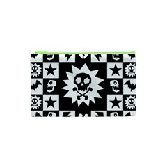 Goth Punk Skull Checkers Cosmetic Bag (XS)