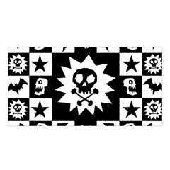 Goth Punk Skull Checkers Satin Shawl