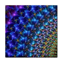 Blue Sunrise Fractal Tile Coaster