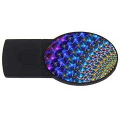 Blue Sunrise Fractal Usb Flash Drive Oval (2 Gb)