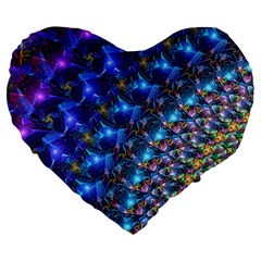 Blue Sunrise Fractal Large 19  Premium Flano Heart Shape Cushion