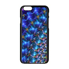 Blue Sunrise Fractal Apple Iphone 6 Black Enamel Case