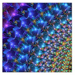 Blue Sunrise Fractal Large Satin Scarf (square)