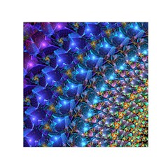 Blue Sunrise Fractal Small Satin Scarf (square)