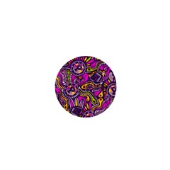 Purple Tribal Abstract Fish 1  Mini Button Magnet