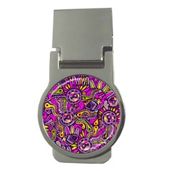Purple Tribal Abstract Fish Money Clip (round)