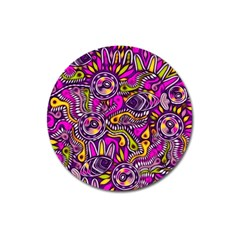 Purple Tribal Abstract Fish Magnet 3  (round)