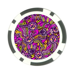 Purple Tribal Abstract Fish Poker Chip