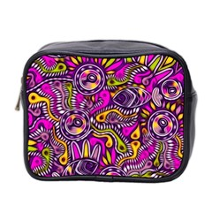 Purple Tribal Abstract Fish Mini Travel Toiletry Bag (two Sides)