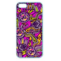 Purple Tribal Abstract Fish Apple Seamless Iphone 5 Case (color)