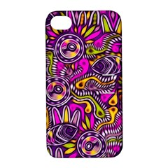 Purple Tribal Abstract Fish Apple Iphone 4/4s Hardshell Case With Stand