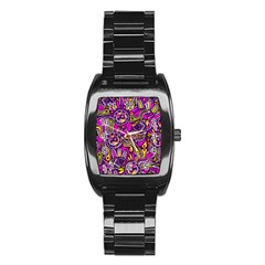 Purple Tribal Abstract Fish Stainless Steel Barrel Watch