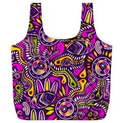 Purple Tribal Abstract Fish Reusable Bag (XL)