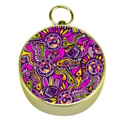 Purple Tribal Abstract Fish Gold Compass