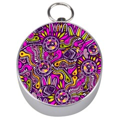 Purple Tribal Abstract Fish Silver Compass