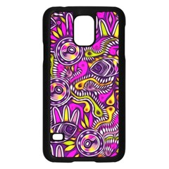Purple Tribal Abstract Fish Samsung Galaxy S5 Case (Black)