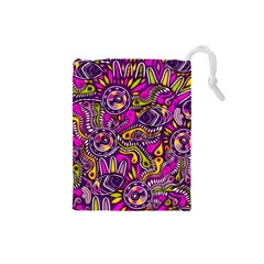 Purple Tribal Abstract Fish Drawstring Pouch (Small)