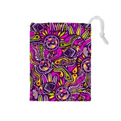 Purple Tribal Abstract Fish Drawstring Pouch (Medium)