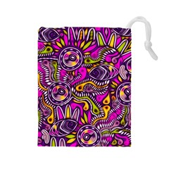 Purple Tribal Abstract Fish Drawstring Pouch (Large)