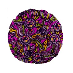 Purple Tribal Abstract Fish Standard 15  Premium Flano Round Cushion