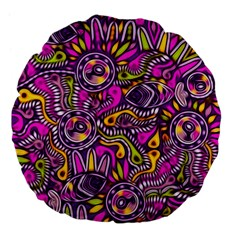 Purple Tribal Abstract Fish Large 18  Premium Flano Round Cushion