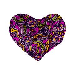 Purple Tribal Abstract Fish Standard 16  Premium Flano Heart Shape Cushion
